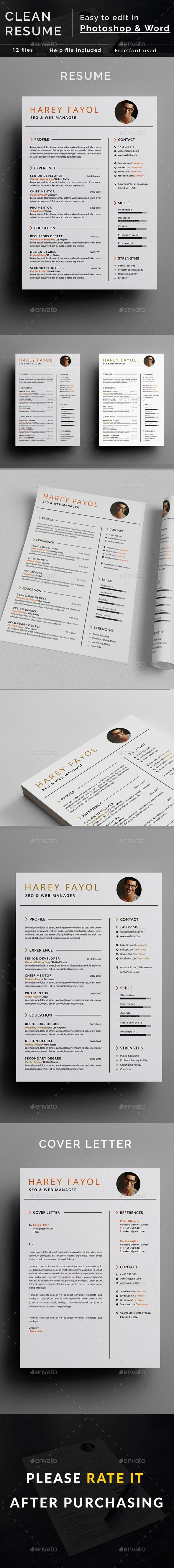 Clean Resume by reeshat Features 300dpi A4