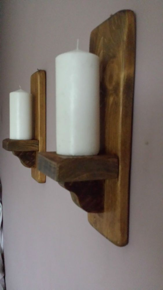 Details About Pair Of 37cm Rustic Wood Handmade Wall Sconce