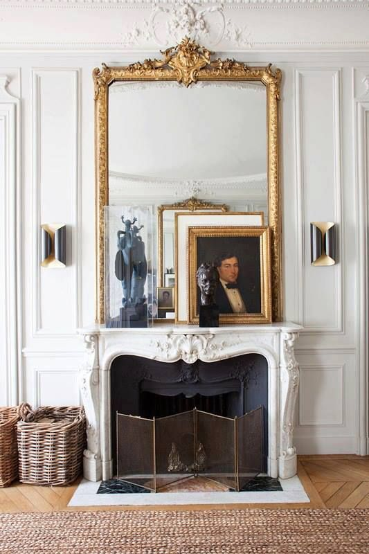 Photo of 27 Parisian Fireplaces & Mantel Decor Ideas