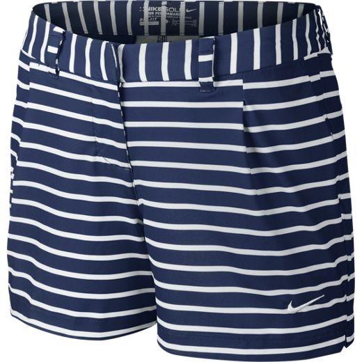 Nike Ladies Shorty Print Golf Shorts - Midnight Navy/White & Lt Crimson/ White