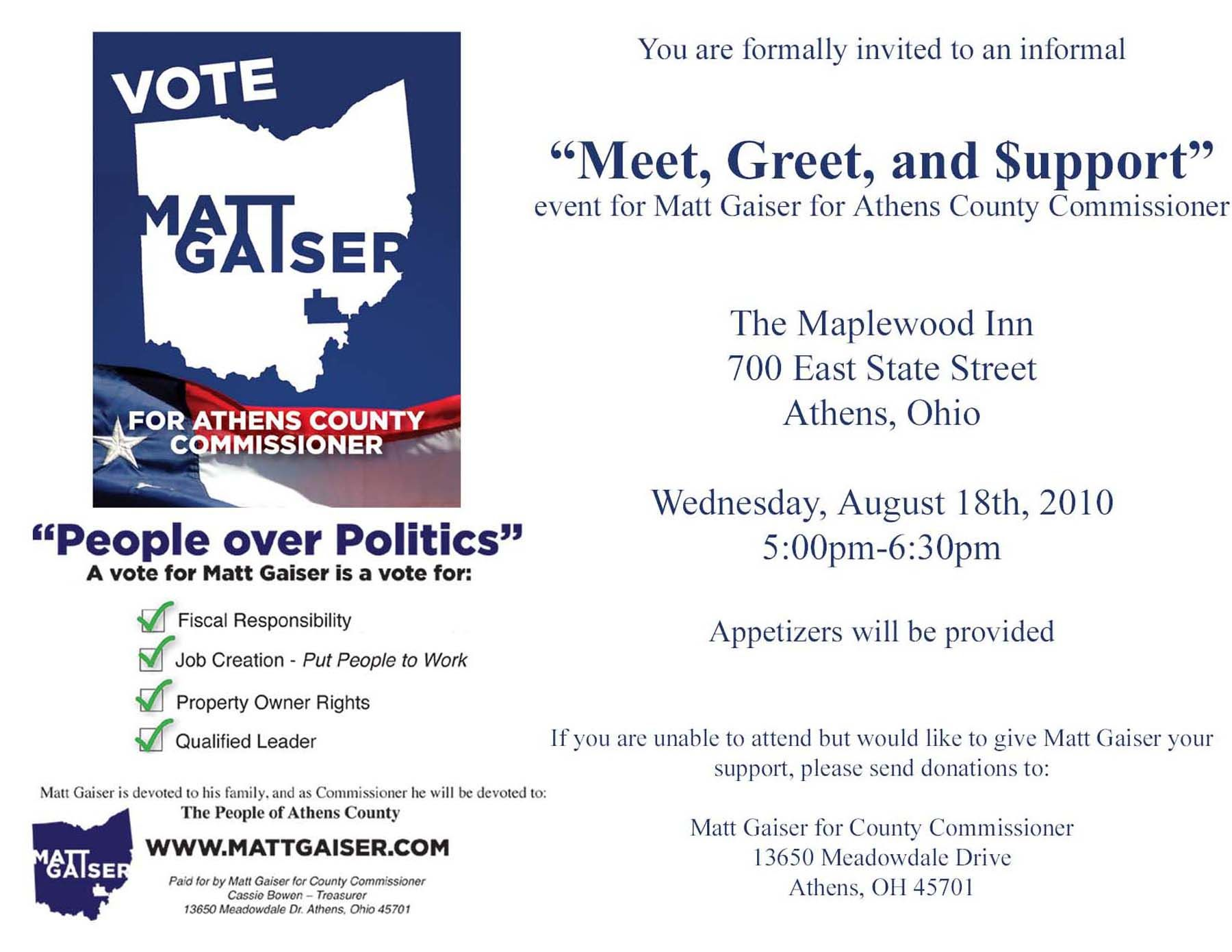 Political Fundraiser Invitations | Meet, Greet And $upport | Matt Gaiser  For Athens County  Fundraising Invitation Samples