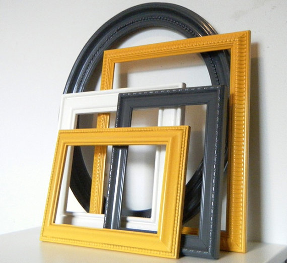 Grey And Yellow Walls: Modern Dark Gray And Mustard Yellow Wall Frame