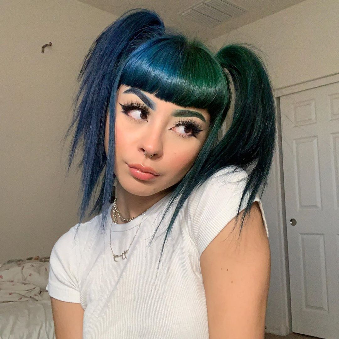 Arctic Fox Hair Color Karlaa W Here S My New Hair And Brow Debut Splitcolor Hairgoals Pigtails Color In 2020 Split Dyed Hair Hair Inspo Color Cool Hair Color