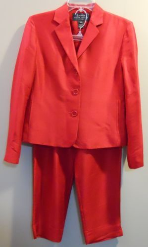 Ralph Lauren 100% Silk Red Pants Suit Size 2 Petite in Clothing, Shoes & Accessories, Women's Clothing, Suits & Blazers | eBay