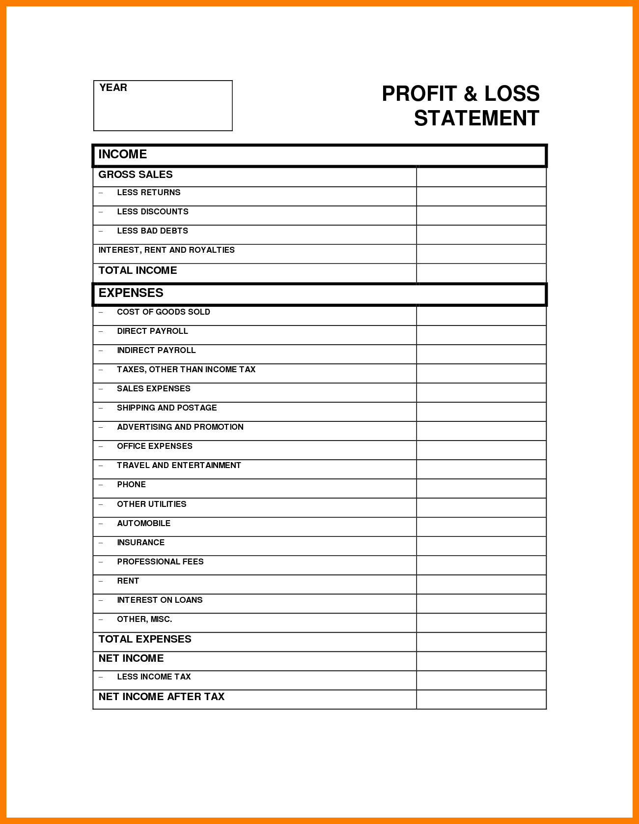 Free Template Profit And Loss Statement Form