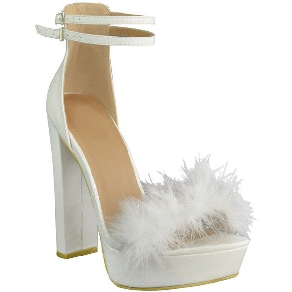 69dcbf6a7dd White Faux Leather Fluffy Marabou Block High Heel Open Toe Strappy... ( 43)  ❤ liked on Polyvore featuring shoes