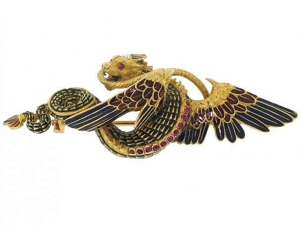 Antique Enamel Griffin and Snake Brooch in 15K - Beladora Antique and Estate Jewelry