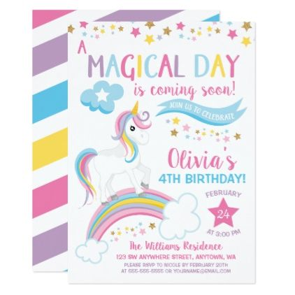Magical Rainbow Unicorn Birthday Invitations