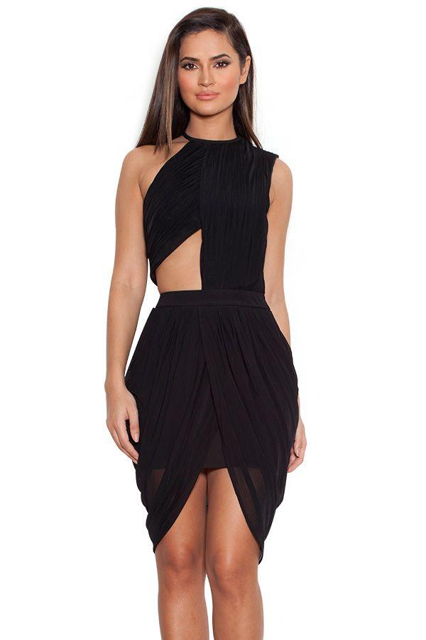 614ba87d54b1db Clothing   Drape Dresses    Leonora  Black Draped Chiffon Cut-Out Dress