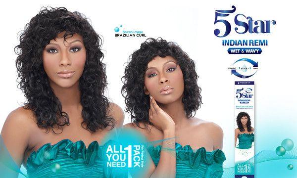 Harlem 125 5 Star Indian Remi Wet Wavy Human Hair Brazilian Curl Pcs