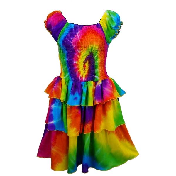 fc98b21a3ca Rainbow Spiral Tie-dye Ruffle Dress for girls age 4
