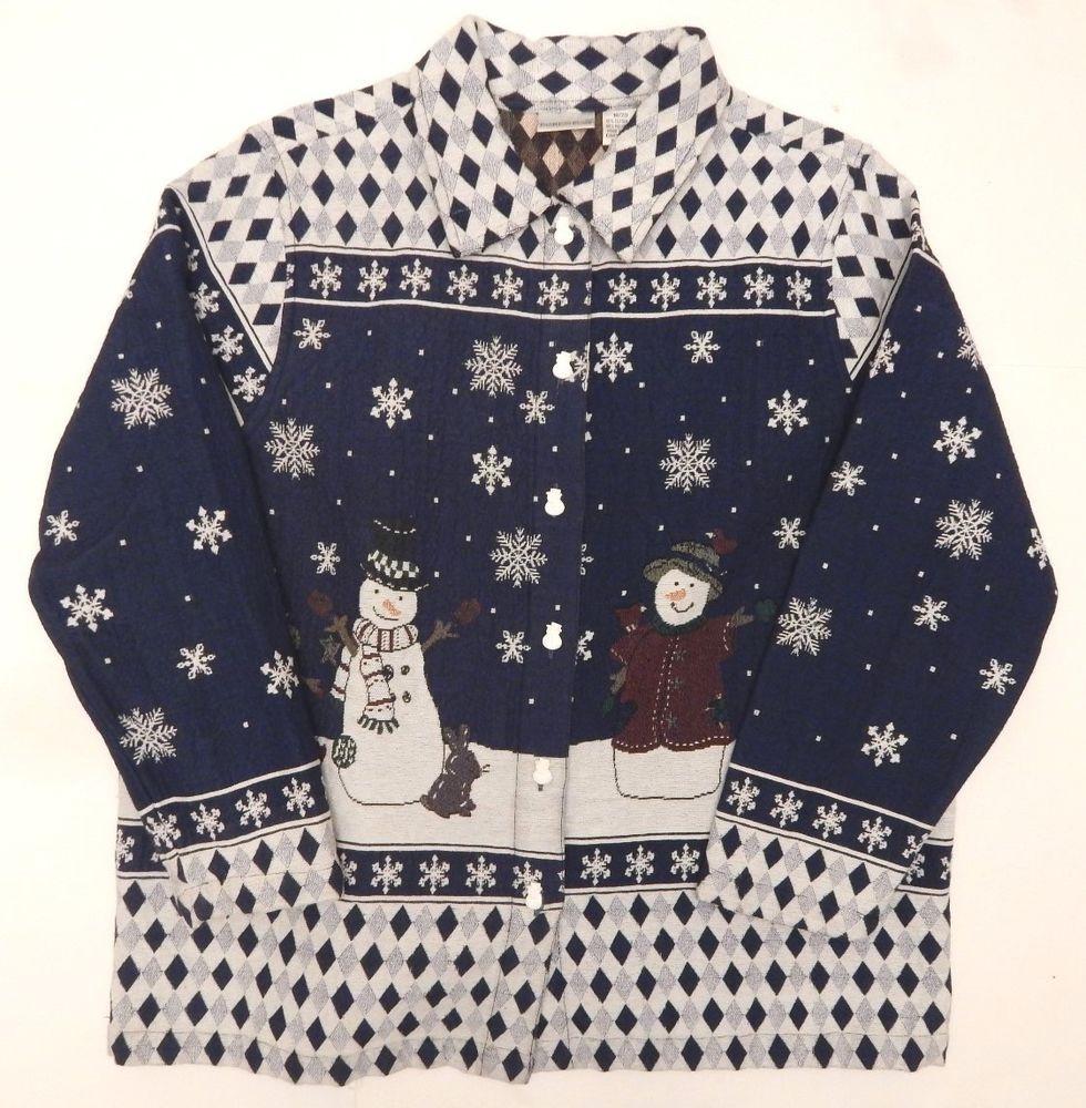 Women's Plus Sized Fashion Bug Snowman Christmas Winter Jacket Shirt Size 18/20 #FashionBug #ButtonDownShirt #Casual