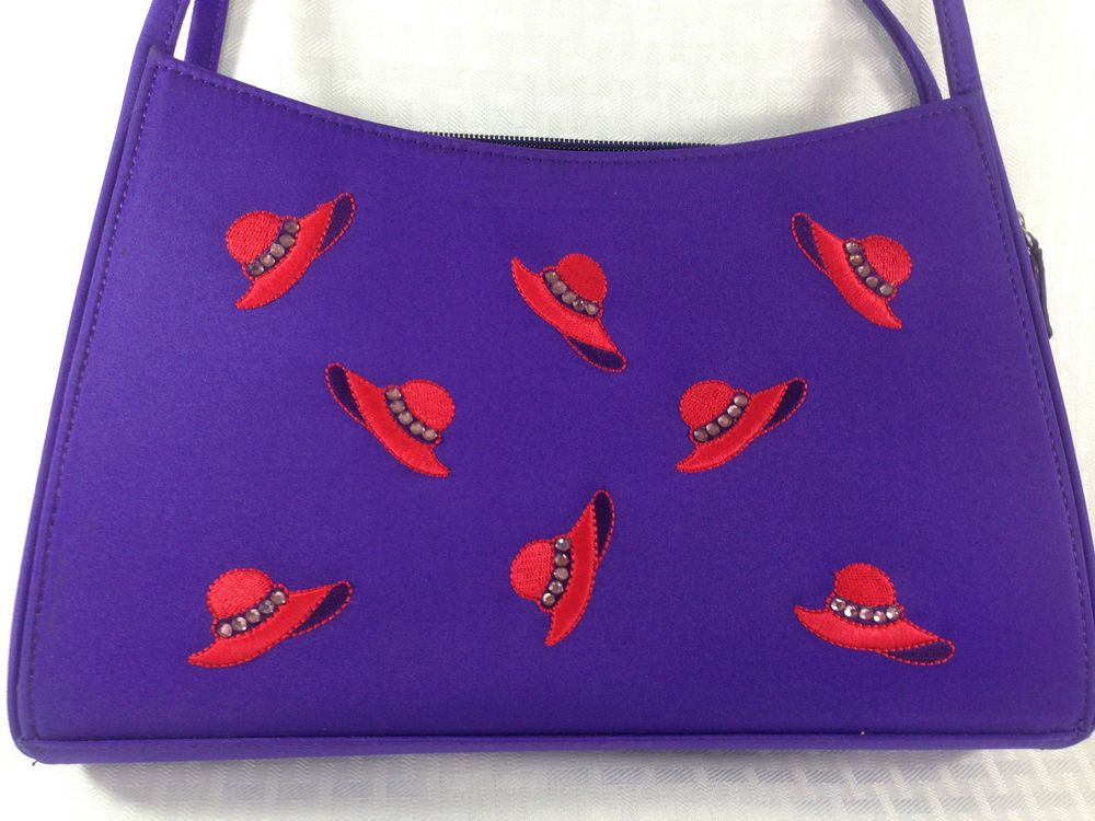 IRON ON EMBROIDER+FABRIC RED HAT SOCIETY SHOULDER PURSE APPLIQUE