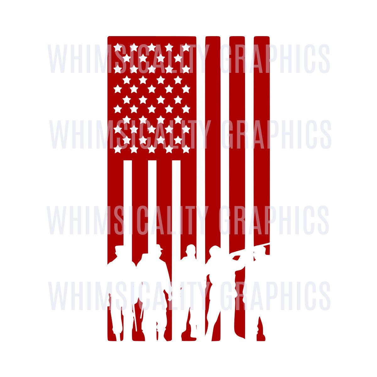 American Flag Military Silhouettes Svg Dxf Png Eps Digital
