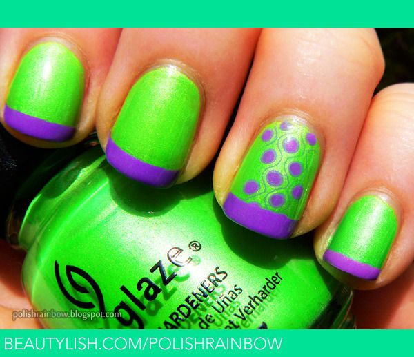 Neon Green And Purple Nails Purple Nails Green Nails Neon Green Nails