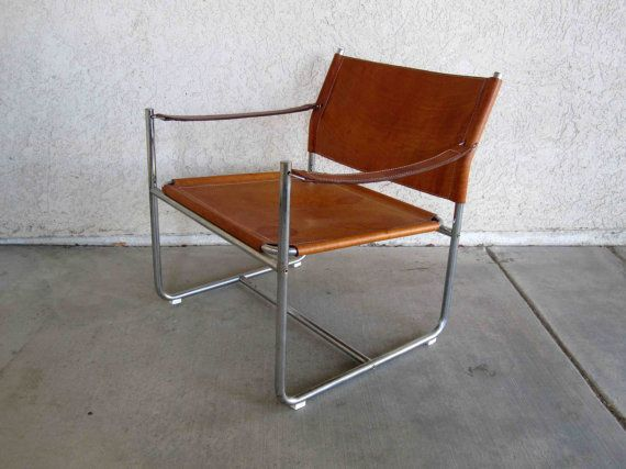 Vintage Mid Century Sling Chair In Leather And Chrome Circa