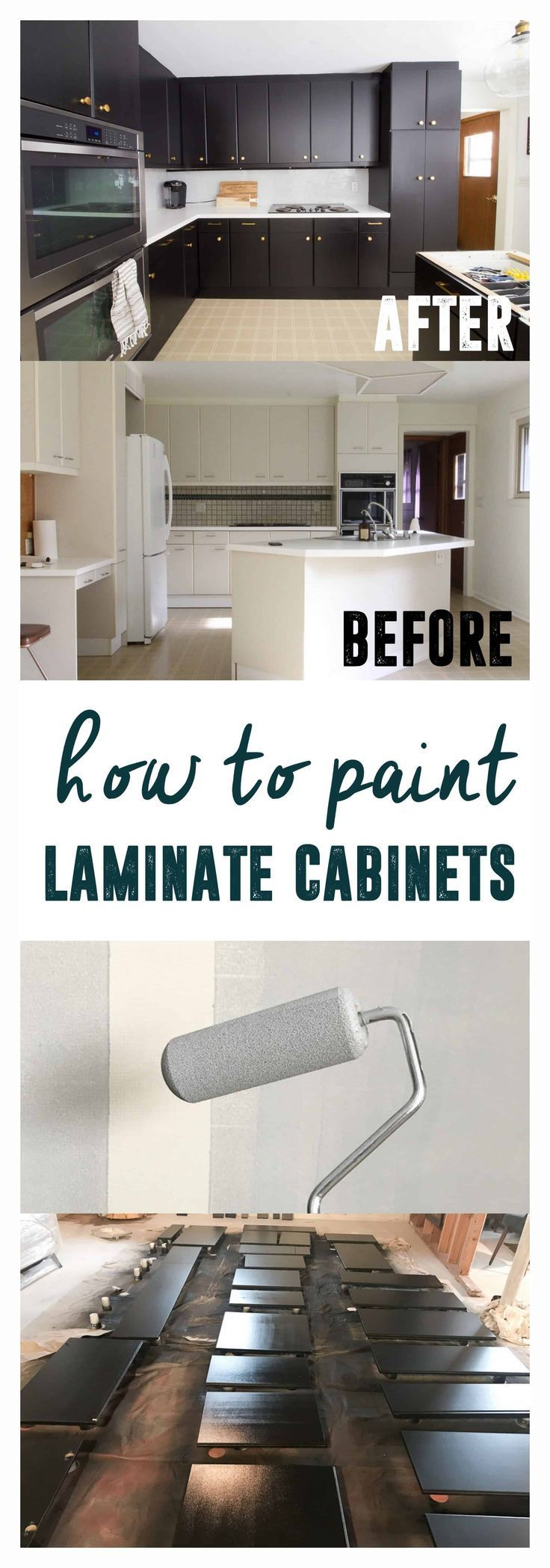 How to Paint Black Kitchen Cabinets, Painting Laminate ...