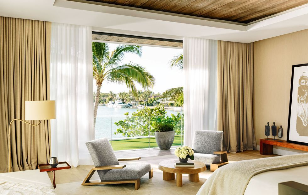 Who Could Design Such A Chic Waterside Sanctuary A Hotel Mogul Of Course Beautiful Bedrooms Home Miami Houses