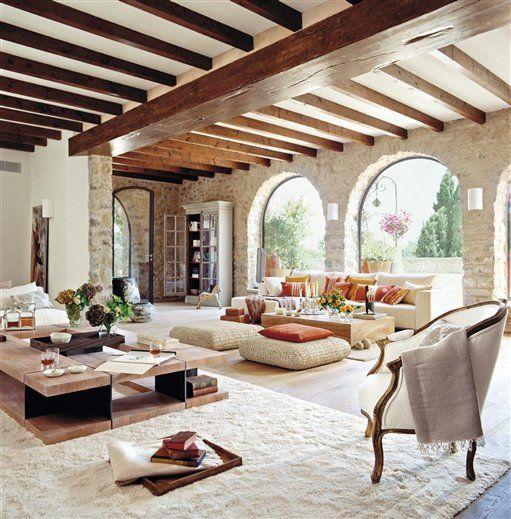 Supersnyggt Vardagsrumsbord Av Tra Maison Pinterest Casas - Interiores-casas-de-campo