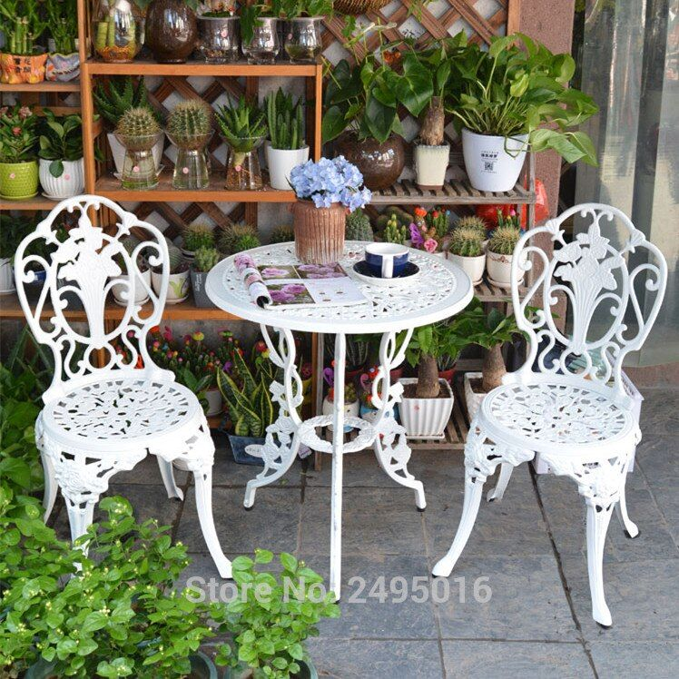 3 Piece White Bistro Patio Set Table And 2 May Chairs Set Furniture Garden Outdoor Seat Bistro Patio Set Garden Furniture Sets Patio Set