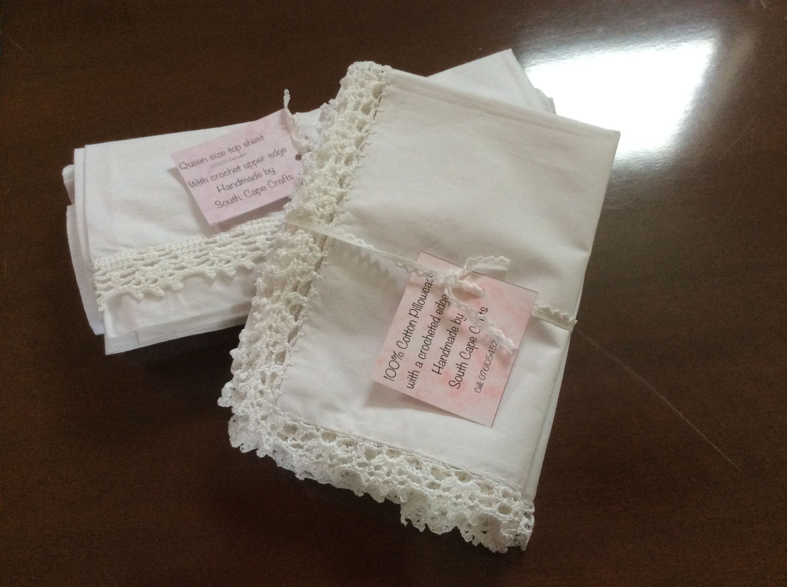 Cotton percale pillowcases and queen size top sheet with crochet details