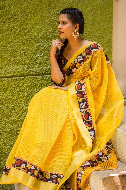 adeb279bfb763 Yellow tissue Kota saree with Kalamkari border  saree  blouse   houseofblouse  indian  bollywood  style  yellow  tissue  kota  mirrorwork   zari  Kalamkari   ...