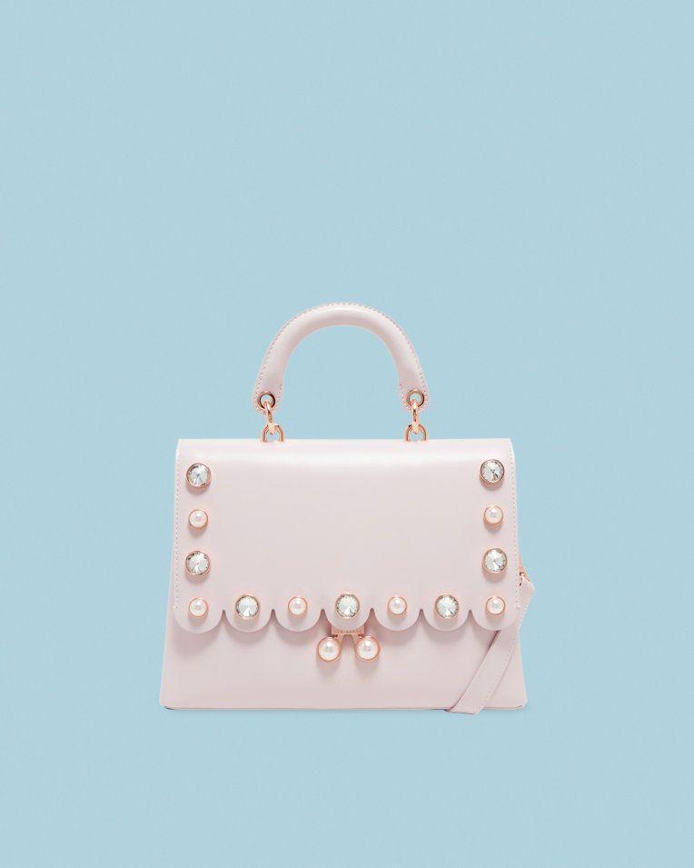 ef0ee0e2a7ee7c Pearl embellished leather lady bag - Dusky Pink