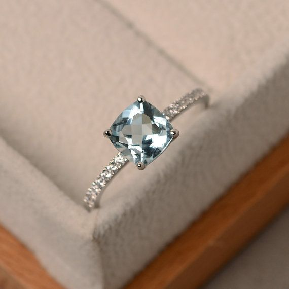 Aquamarine ring, natural aquamarine, aquamarine engagement ring, sterling silver, March birthstone