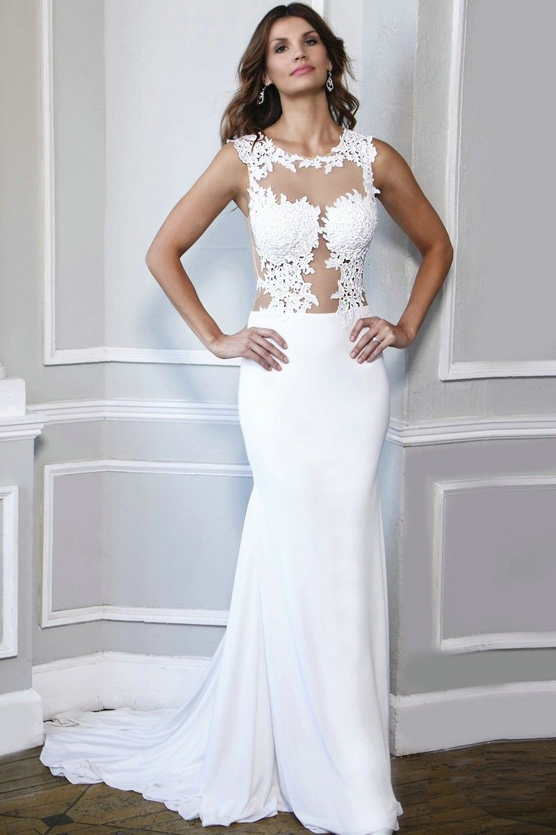 Illusion neckline court train chiffon prom dress with lace appliques