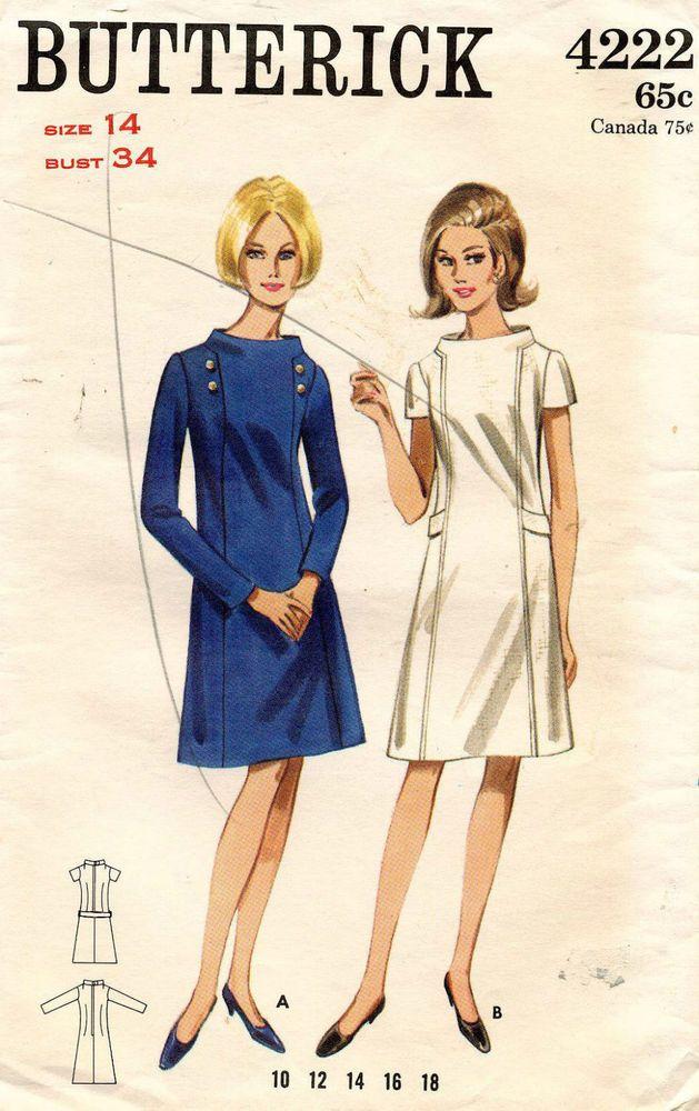 1960\'s VTG Butterick Misses\' Dress Pattern 4222 Size 14 UNCUT ...
