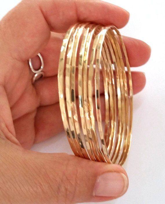 f570956c2c0f3 14K Gold Filled Bangle Bracelet Set of 3 - 2mm Thick Yellow Gold ...