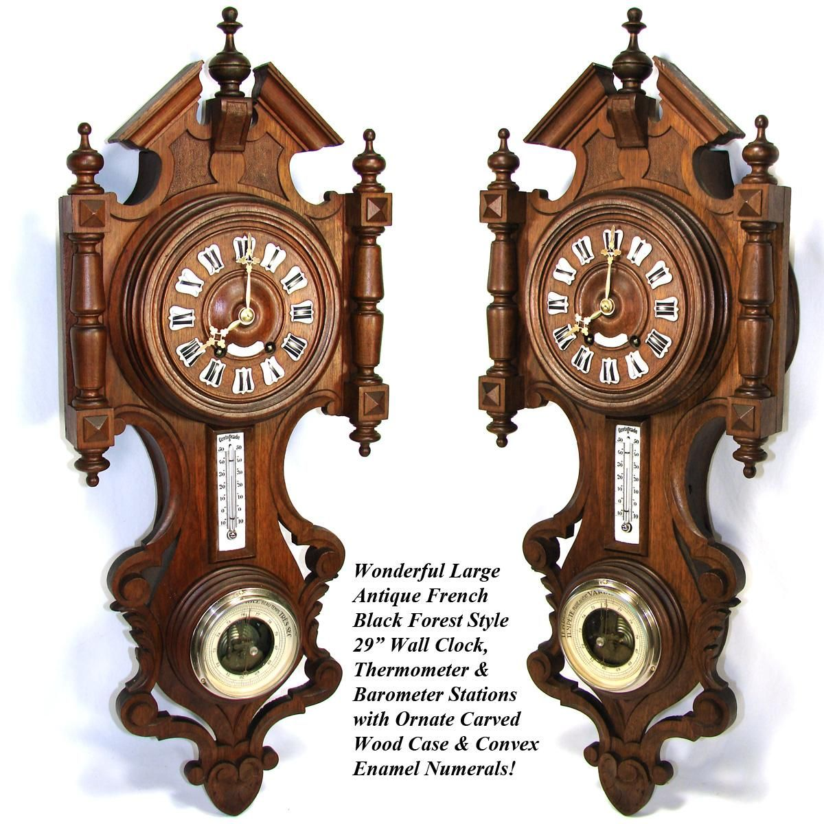 Lg antique french black forest style carved wood 29 wall clock lg antique french black forest style carved wood 29 wall clock barometer thermometer amipublicfo Choice Image