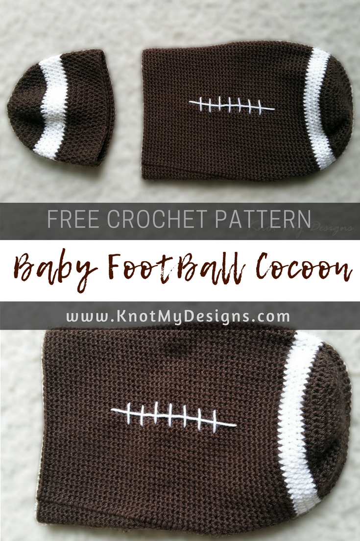 Free Crochet Pattern - NewBorn - Baby Football Cocoon. Learn how to make  cocoon in written instructions. 371e7586aed