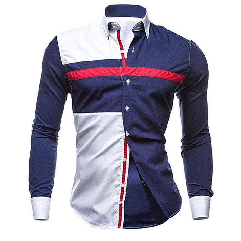 Camisa Casual Esportiva Manga Longa Jovem Branco e Azul  685cb11cc09