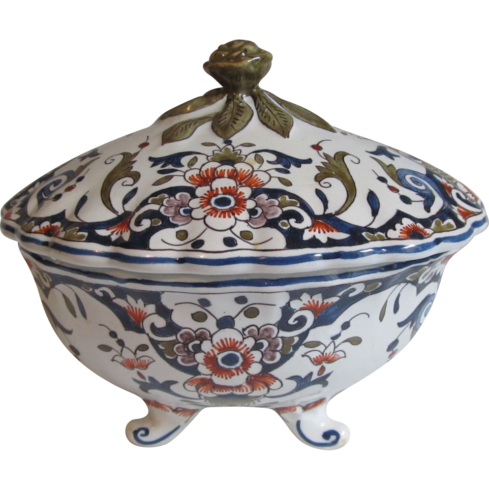 19th C. Antique French Faience Covered Dish in Imari Colors
