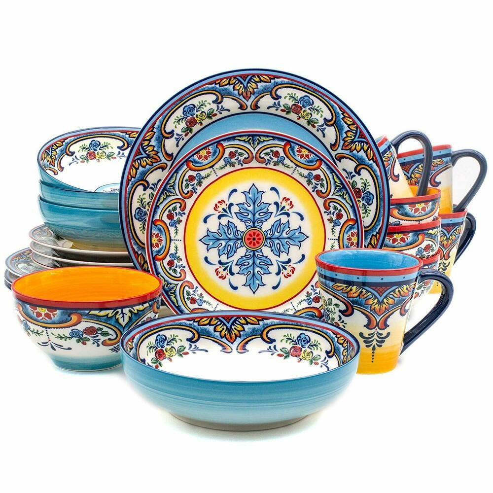 VEWEET OLINA 18-Pieces Porcelain Dinner Set Tableware Dessert Soup Dinner Plate