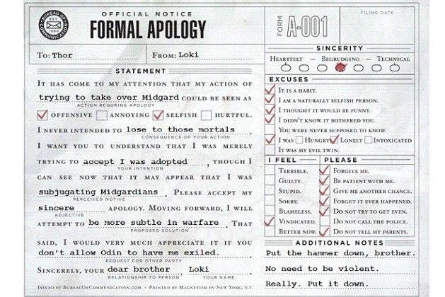 Official Notice of Formal Apology