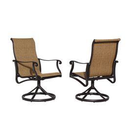 Allen Roth Safford 2 Count Brown Aluminum Swivel Rocker Patio Dining Cha Patio Dining Chairs Aluminum Patio Furniture Cast Aluminum Patio Furniture