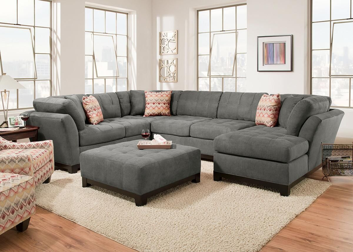 Kaley Charcoal 3 Pc Sectional 3 Piece Sectional Sofa Grey Sectional Sofa Sectional Sofa