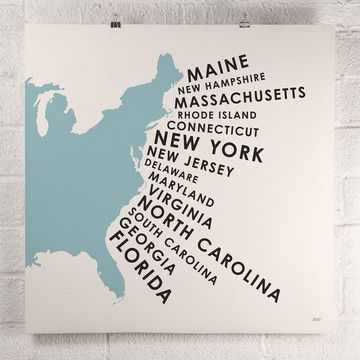 East Coast States Print Blue  by David Klinker