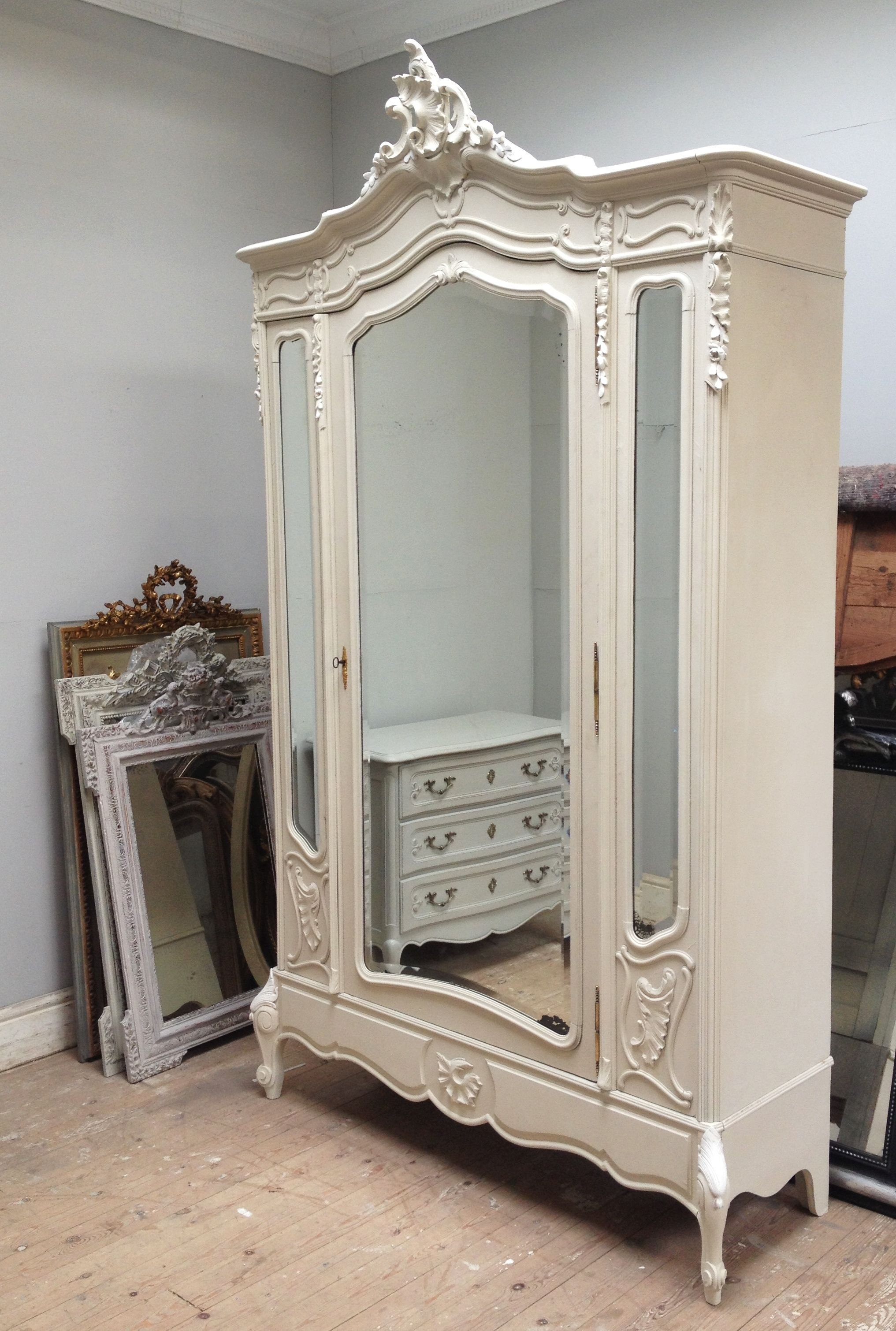 1800-1899 Armoires & Wardrobes Louis Xvi Style Painted Triple Door C1890 Keep You Fit All The Time French Antique Armoire
