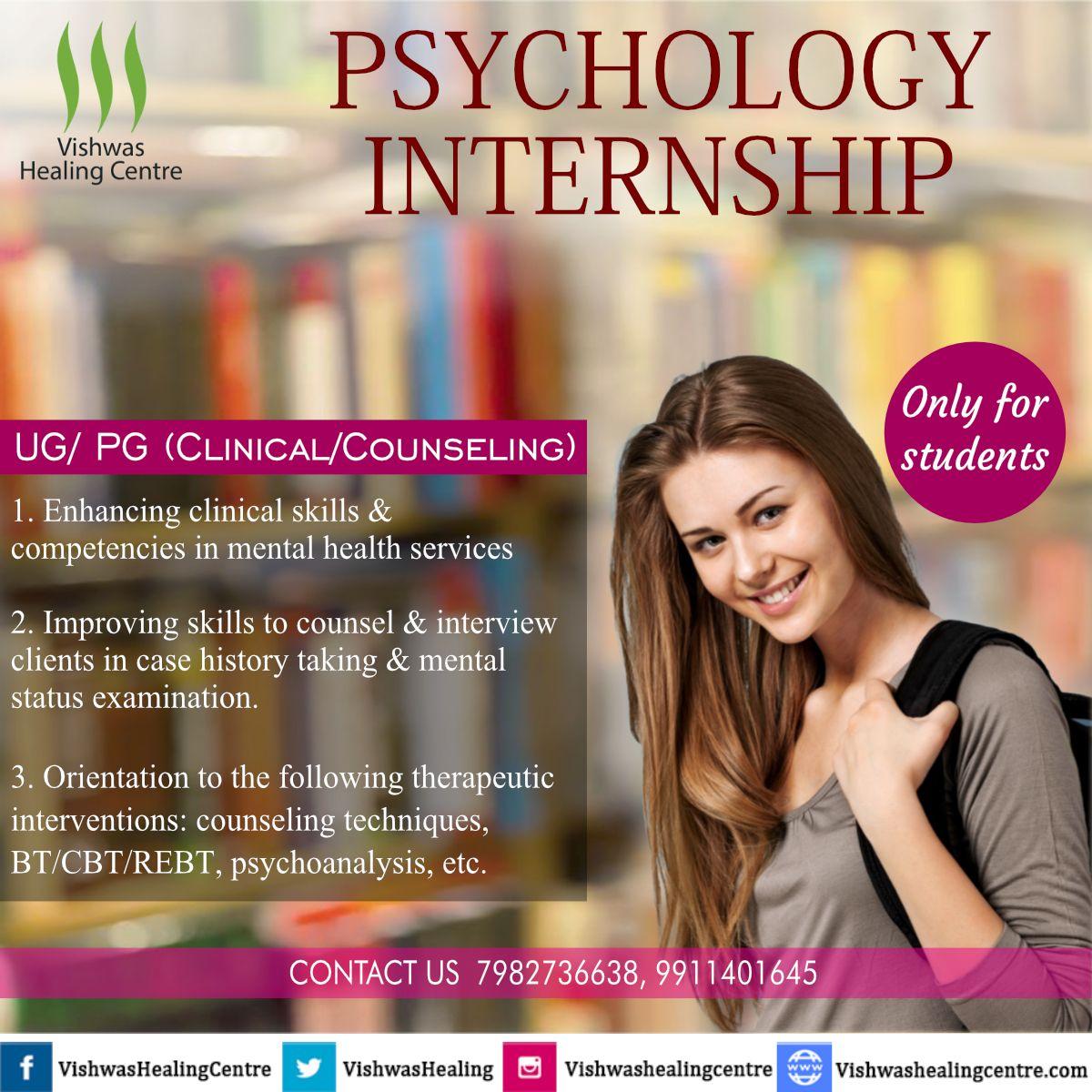 Psychology Internship Ug Pg Clinical Counseling Clinical Psychology Psychology Internships Counseling Techniques