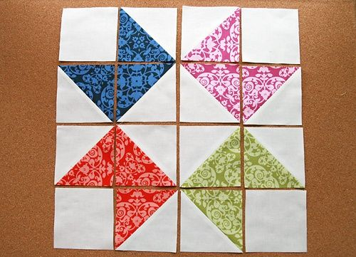 Ribbon Star Quilt Block Half Square Triangle Quilts Pinterest