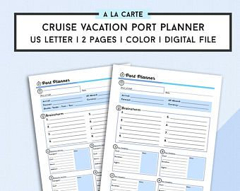 Cruise Port Planner  Cruise Vacation Itinerary Template  Touring