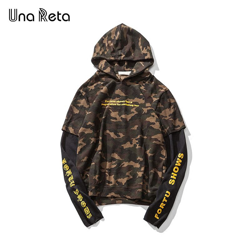 >> Click to Buy <<  Una Reta 2017 Hooded Men Hip Hop Men's Hoodies Fake two pieces Camouflage Stitching Men's Hoodies Sweatshirts  #Affiliate