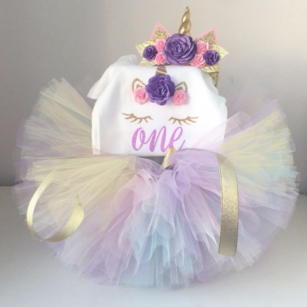 a9a99611161d Newborn Baby Toddler Girl First Birthday Outfit Kids Clothing Sets Summer  Romper+Tutu Skirt+