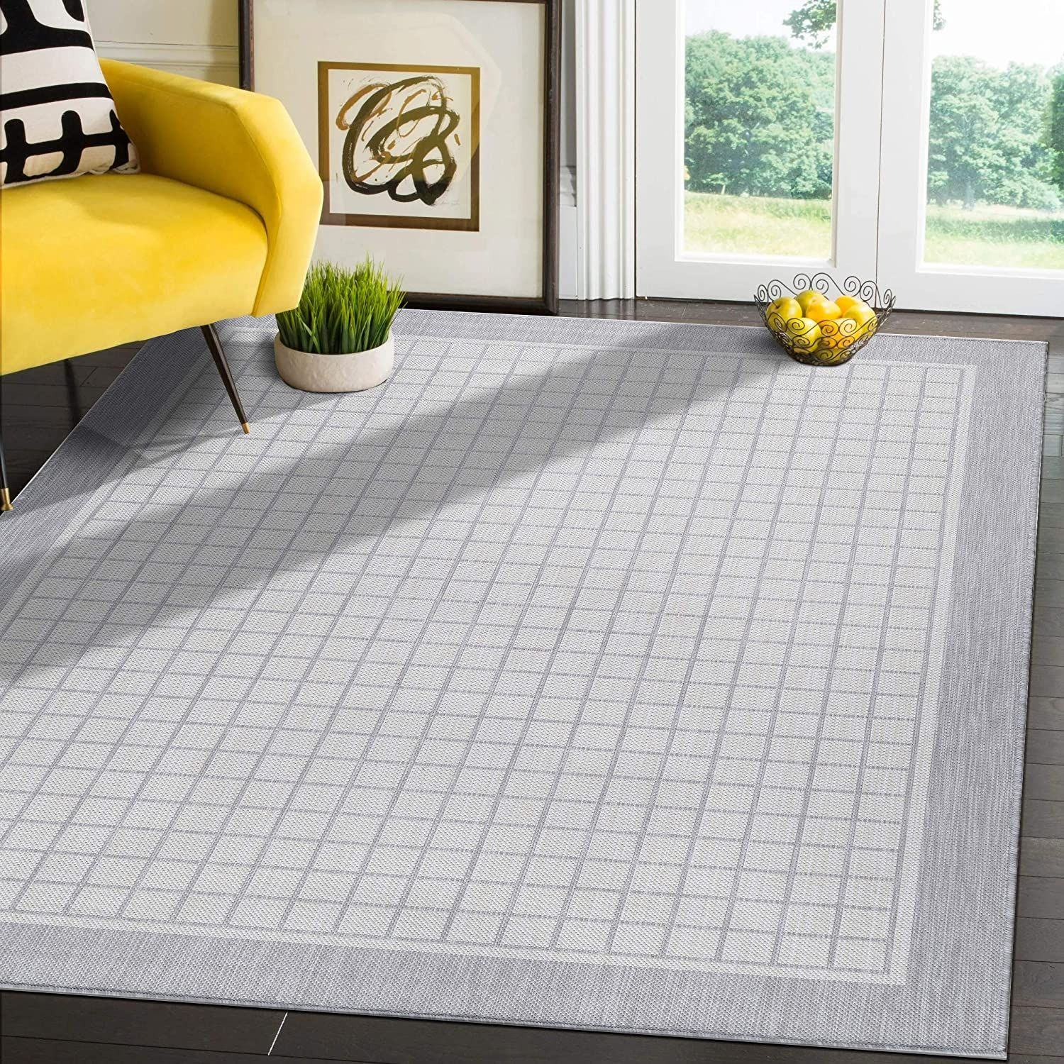 Modern Area Rugs for Indoor Outdoor Bordered Squares Grey/ White   8x10 Gallery