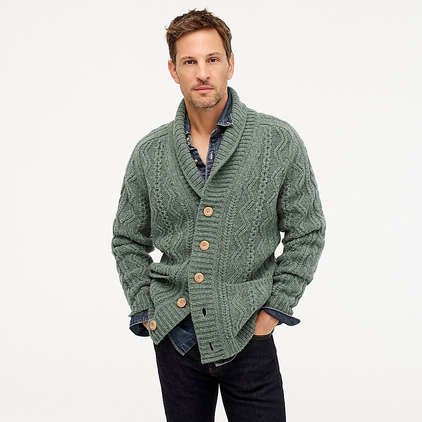 Wallace & Barnes Cable knit Shawl collar Cardigan For Men