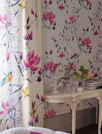 wall paper designers. Designers Guild fabric and wallpaper  Madame Butterfly Peony This is cool but the doesn t have blue