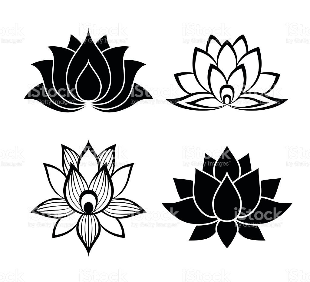 Lotus flower signs set for the perfect web design tattoos